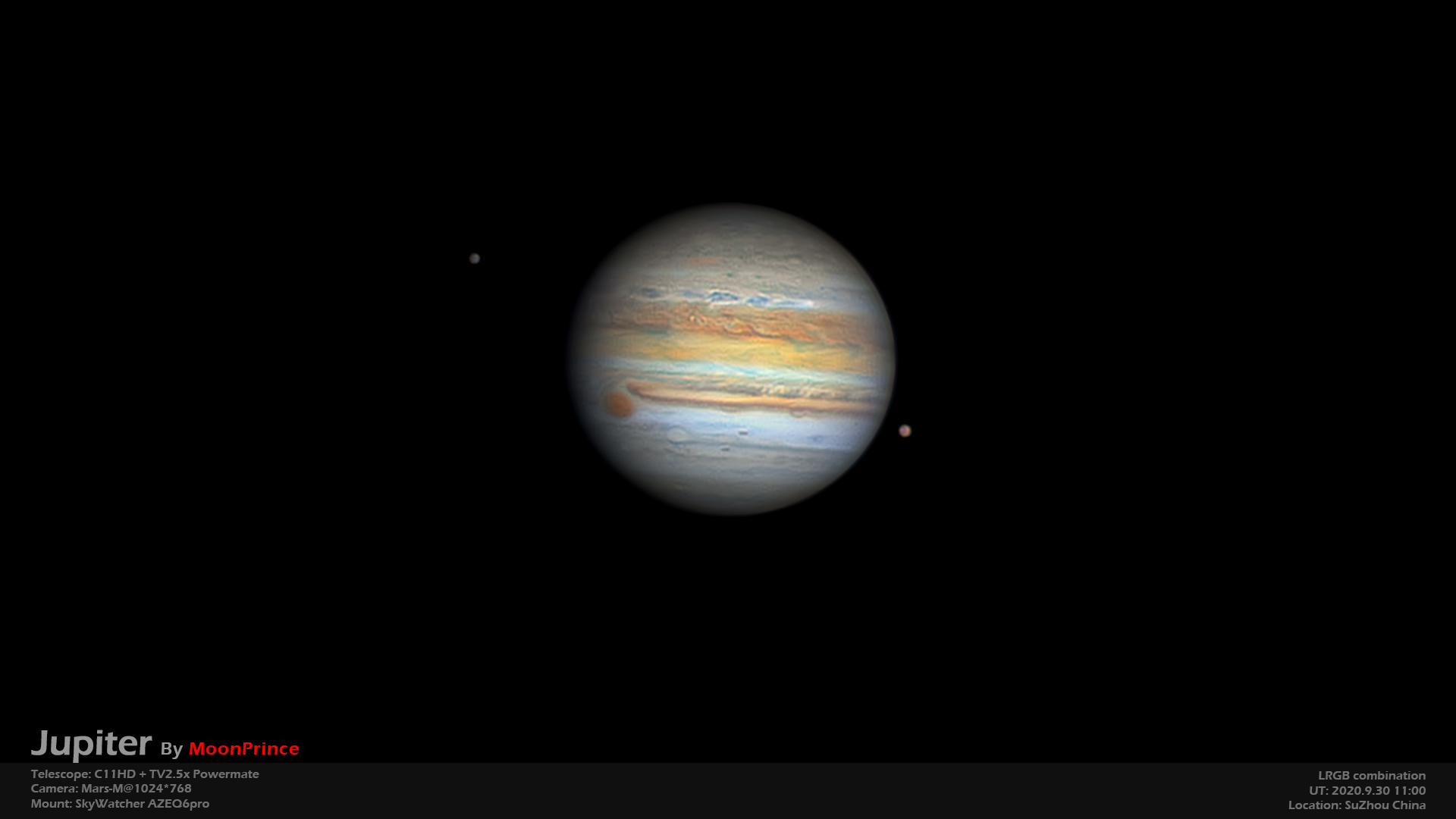 Two moons around Jupiter with RED spot, C11HD+Mars-M camera